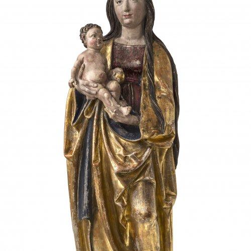 Meister von Rabenden zugeschrieben. Süddeutsch, um 1517/20. Muttergottes mit Kind. Übergangene Farbfassung. Rest., erg. H. 118 cm.