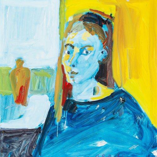 Alder, Bernd. Blaues Mädchen. Öl/Hartfaser. 50 x 50 cm. Sign., dat. 1995.