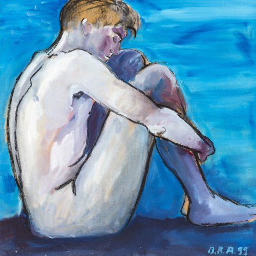 Alder, Bernd. Sitzender Männerakt in Blau. Öl/Platte. 80 x 78,56 cm. Sign., dat. 99.