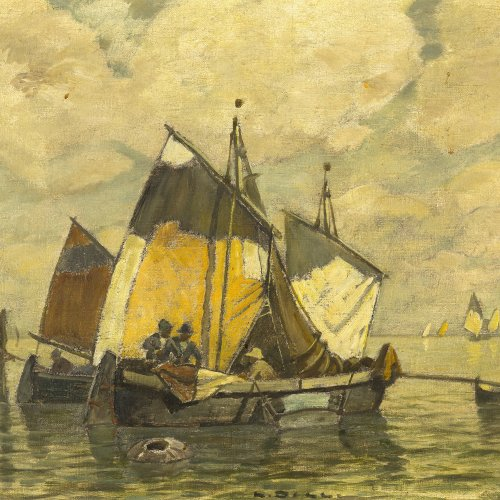 Dill, Ludwig, Fischerboote vor Chioggia. Öl/Lw. 46 x 54 cm. Sign.