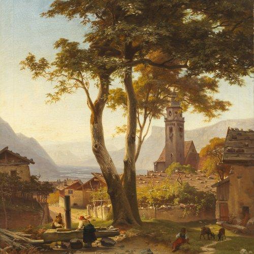 Heerdt, J.Chr. Blick von Meran auf den Penegal und den Mendelpass. Öl/Lw. 76 x 63 cm. Rest., sign., dat. 1856.