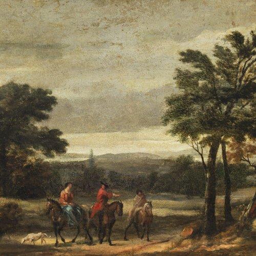 Thiele, Joh. Alexander, Unkreis. Landschaft mit Reitern. Öl/Holz. 35 x 50 cm. Rest. Unsign.