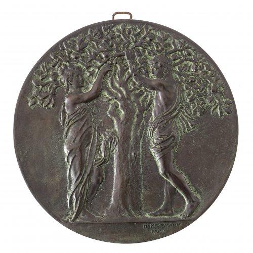 Plakette. Bronze. Adam und Eva unter dem Apfelbaum.