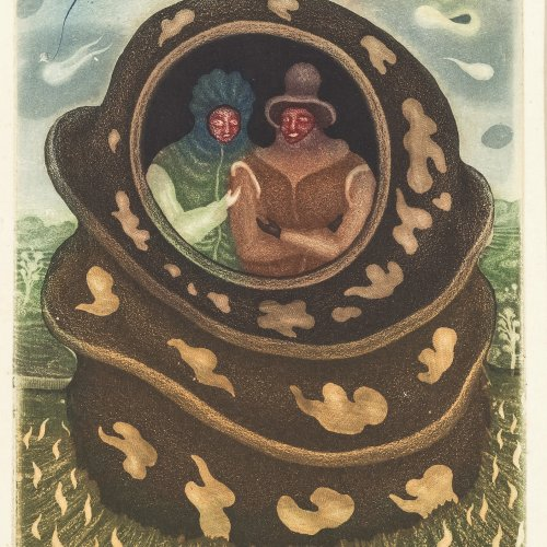 Brauer, Arik. Zwei verschlungene Figuren. Farbradierung. 20 x 14 cm. Orig. Radierung. Sign.