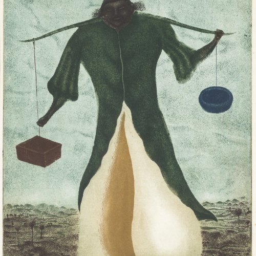 Brauer, Arik. Mann mit Waage über den Schultern. Farbradierung. 30 x 20 cm. Orig. Radierung. Sign.