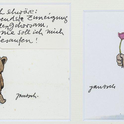 Janosch. Postkarte und Original (Aquarell).11 x 17,5 cm. Sign.