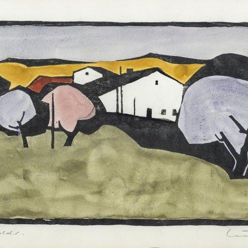 Muckenschnabl, Herbert. Landschaft mit Häusern. Farbholzschnitt (Original Handdruck). 17,5 x 36 cm (Platte). Sign., dat. 85.