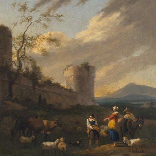 Begeyn, Abraham. Hirten mit ihren Tieren vor alter Festung. Öl/Lw. 62 x 55 cm. Craquelé, rest., doubl. Sign.