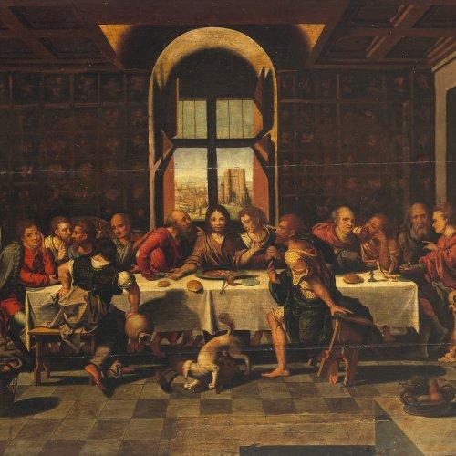 Coecke (Cock) van Aelst, Pieter, Nachfolger. Das letzte Abendmahl. Öl/Holz. 66 x 87 cm. Risse, rest. Unsign.