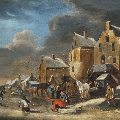 Heeremans, Thomas, zugeschrieben. Eisbelustigung vor holländischer Ortschaft, im Hintergrund Windmühle. Öl/Holz. 48 x 64 cm. Riss, rest. Unsign.