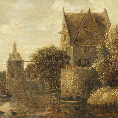 Knijff, Wouter, zugeschrieben. Ortschaft am Fluß mit Ruder- und Segelbooten. Öl/Holz. 28 x 49 cm. Riss. Monogr.