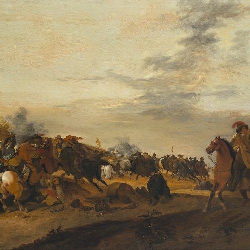 Palamedesz, Palamedes. Reitergefecht. Öl/Holz. 73 x 107 cm. Sign.