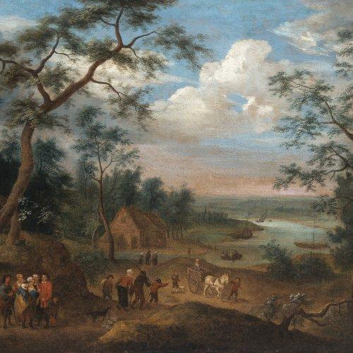 Steen, Jan, Umkreis. Flußlandschaft mit Bauern und Kutsche. Öl/Lw. 64 x 75 cm. Rest., doubl. Unsign.