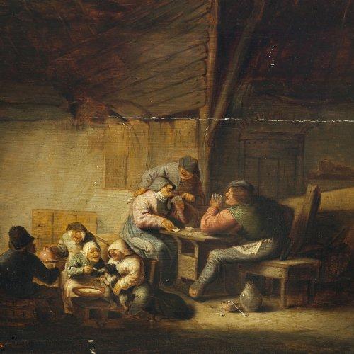 Victorijns, Antonie, zugeschrieben. Bäuerliches Genrebild. Bauern beim Kartenspiel. Öl/Holz. 32 x 37 cm. Besch., rest., parkettiert. Undeutlich sign., dat. 1639(?).