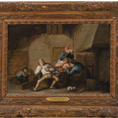 Victorijns, Antonie, zugeschrieben. Zechende Bauern vor dem Kamin. Öl/Holz. 24 x 34 cm. Rest. Unsign.