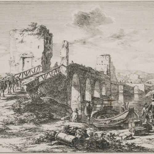 Both, Jan. Ponte Molle (Milvische Brücke). Radierung. 19 x 27 cm. Fleckig.