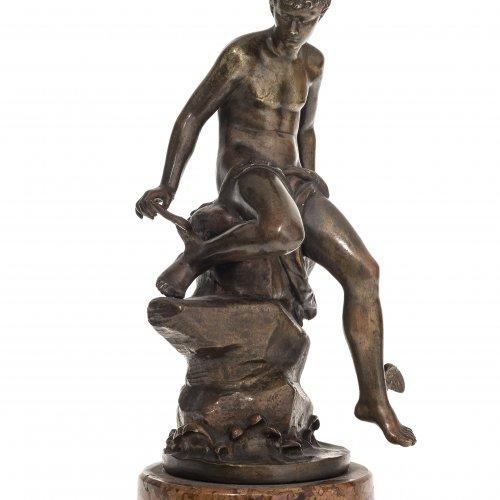 Bouret, Eutrope. Merkur. Bronze, patiniert, auf Marmorplinthe montiert. Sign. Gesamthöhe 28 cm.