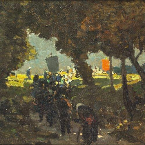 Stockmann, Hermann. Prozession. Öl/Karton. 16,5 x 21 cm. Restsign.