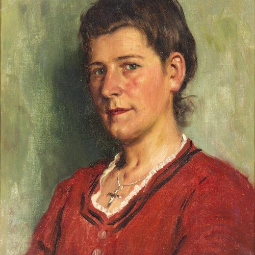 Rau, Emil. Junges Bauernmädchen. Öl/Lw. 35,3 x 29 cm. Rest., sign., dat. 20(?), bez.: Oberndorf.