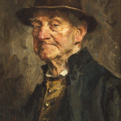 Best, Hans. Porträt eines kritischen Herren. Öl/Lw. 33,5 x 25 cm. Sign.