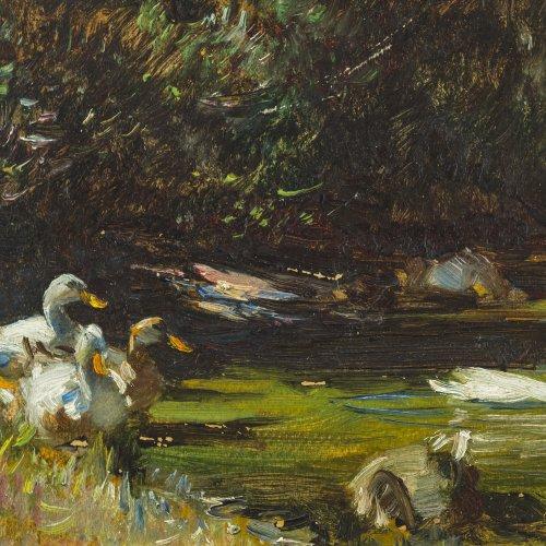 Schramm-Zittau, Rudolf, zugeschrieben. Enten am Ufer. Öl/Malkarton. 17,5 x 25 cm. Min. Farbablösungen. Rücks. bez.