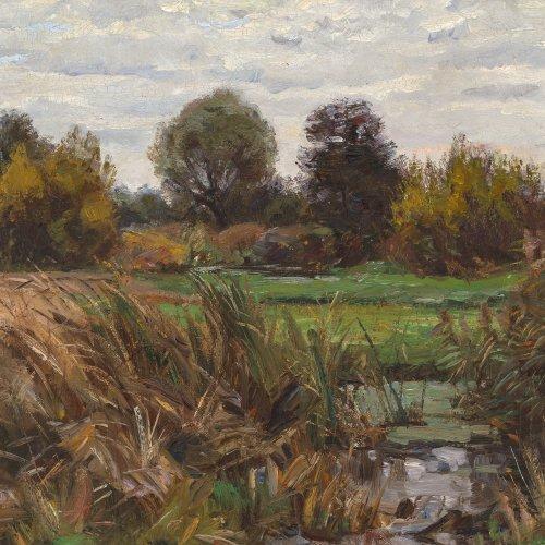 Hennig, Carl. Baumreiche Landschaft mit Schilf. Öl/Lw. 50 x 71 cm. Sign.