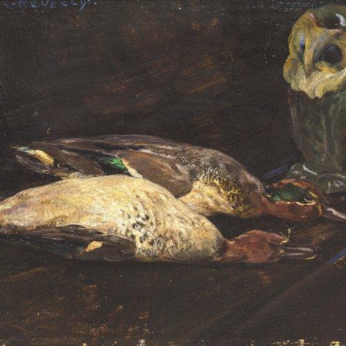 Hein-Neufeldt, Max. Eule vor zwei erlegten Enten. Öl/Karton. 35,5 x 55,5 cm. Sign.