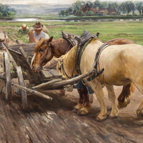 Bergmann, Max. Kartoffelernte mit Pferdegespann. Öl/Lw. 70 x 100 cm. Sign.
