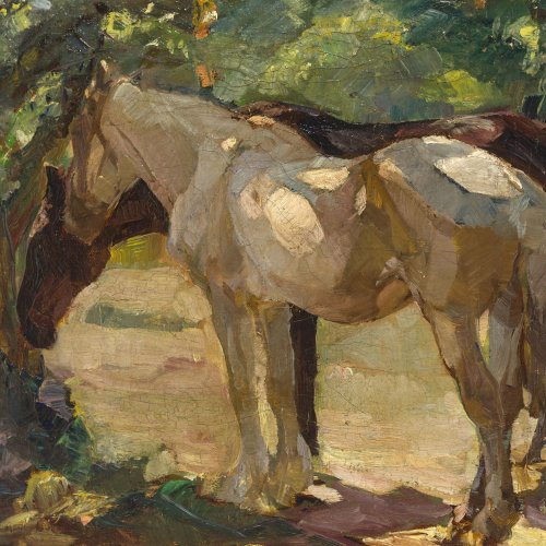 Hein-Neufeldt Max. Zwei Pferde unter Bäumen. Öl/Lw. 52 x 65 cm. Sign.