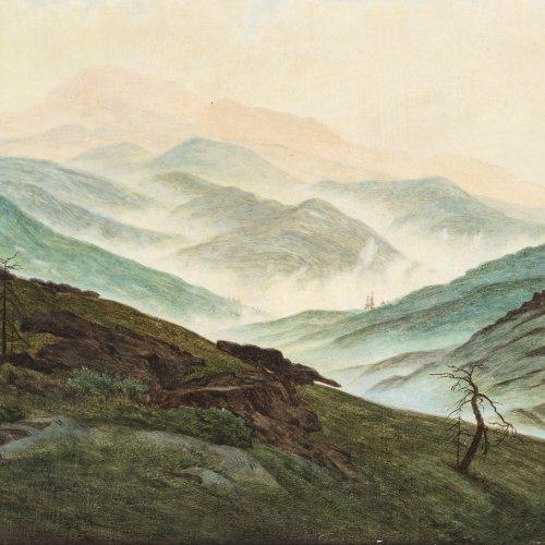Wersig, Bruno. Riesengebirgslandschaft. Öl/Karton. 36,5 x 48,5 cm. Unsign.