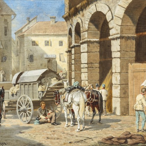 Quaglio, Franz, zugeschrieben. Rastende Soldaten und Händler in einer Stadt. Öl/Holz. 20,5 x 27 cm. Sign.