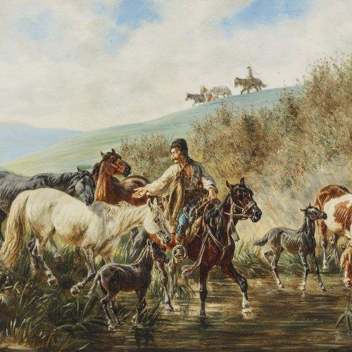 Quaglio, Franz, zugeschrieben. Kosake mit Pferden.