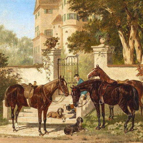 Quaglio, Franz, zugeschrieben. Gesattelte Pferde und Hunde vor einem Schloss. Öl/Holz. 30 x 39,5 cm. Rest. Sign.