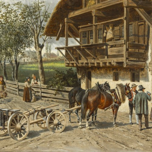 Quaglio, Franz. Pferdegespann vor einem Bauernhaus. Öl/Lw. 29 x 54 cm. Rest. Sign.