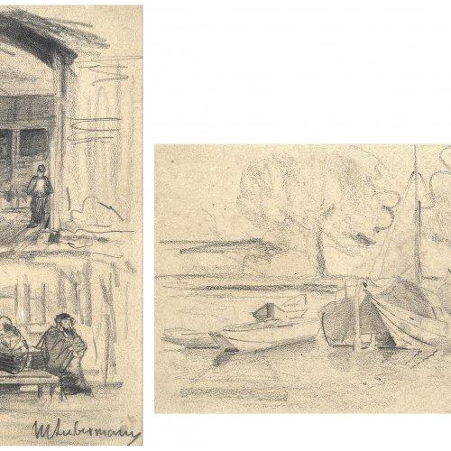 Liebermann, Max. Doppelseitige Bleistifzeichnung. 17 x 10,5 cm.