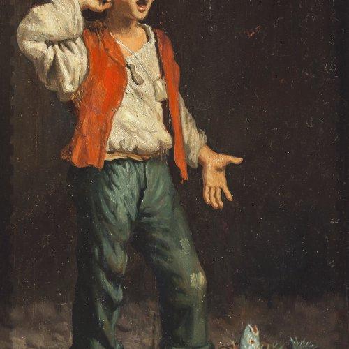Ricci, Alfredo. Bauernjunge mit Fisch. Öl/Holz. 24 x 15 cm.