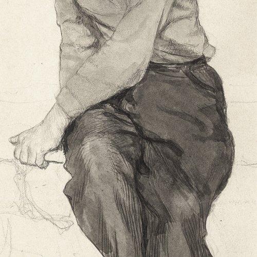Spiro, Eugen. Porträt eines Jungen. Skizze. Federzeichnung.
