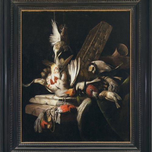 Ferguson, Willem Gouw, zugeschrieben. Jagdstillleben mit Vögeln und Falknerhäubchen.