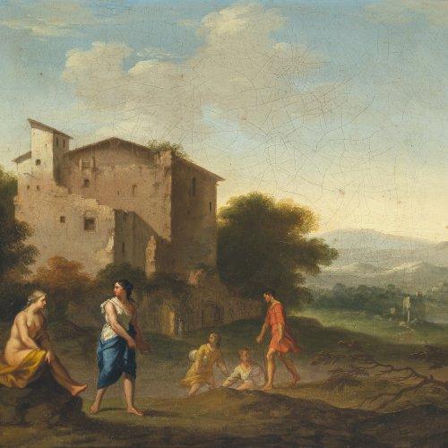 Poelenburgh, Cornelis van, zugeschrieben. Arkadische Landschaft mit Nymphen. Öl/Lw. 31 x 36,5 cm. Rest., doubl. Monogr.