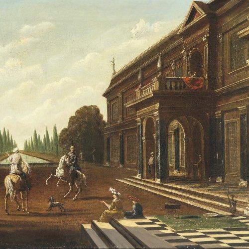 Saeys, Jakob Ferdinand, zugeschrieben. Villa am Kanal, auf dem Vorplatz zwei Reiter. Öl/Lw. 39 x 55,5 cm. Rest., doubl. Unsign.