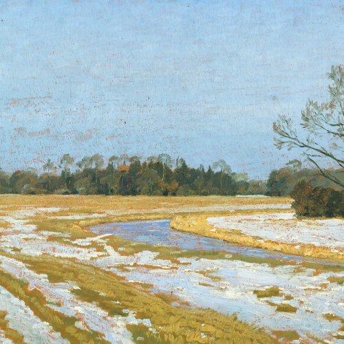 Wersig, Bruno. Letzter Schnee. Öl/Karton. 36 x 48 cm. Monogr., dat. 30. Verso Flusslandschaft.