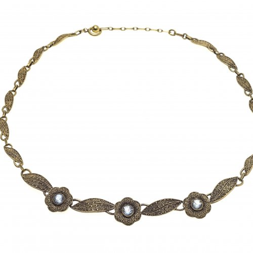 Halskette. Fahner. Silber, vergoldet. Aquamarinbesatz
