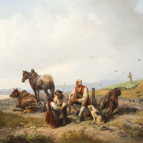 Marr, Heinrich. Rastende Bauern auf dem Feld. Öl/Lw. 57 x 81 cm. Sign., dat. 1854.