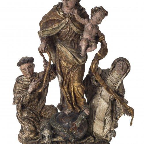 Figurengruppe mit Gottesmutter, Dominikus u. Klara, Süddeutsch, 18. Jh.