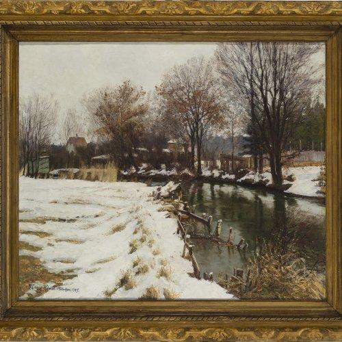 Klatt, Hans. Winter an der Würm bei Gauting. Sign., bez.: München, dat. 1925.