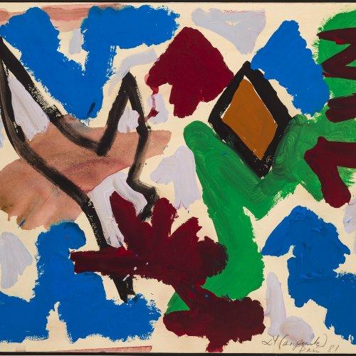 Penck, A.R.(Ralf Winkler). Komposition. Öl/Papier/Lw. 50 x 64 cm.
