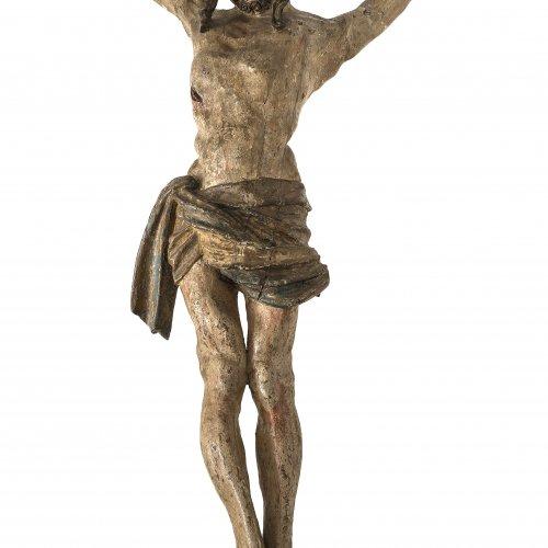 Leinberger, Hans, Werkstatt. Corpus Christi, Dreinageltypus. Holz, übergangene Farbfassung mit alten Fassungsresten. H. 79 cm. Best., rep.