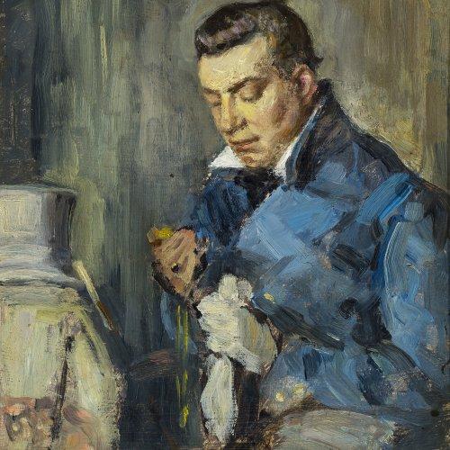 Hesse, Rudolph, zugeschrieben. Vornehmer Herr im blauen Rock. Öl/Holz. 25,5 x 21,5 cm. Unsign.