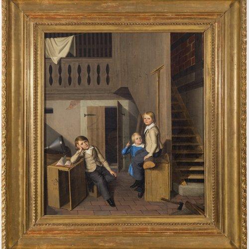 Gruss, Anton, zugeschrieben. Interieur eines Hauses mit drei Kindern. ÖL/Lw. 57 x 50 cm.