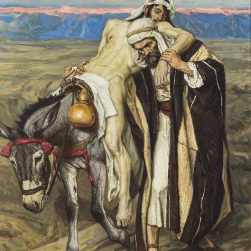 Kaempffer, Eduard. Der barmherzige Samariter. Öl/Lw. 150 x 100 cm. Sign.